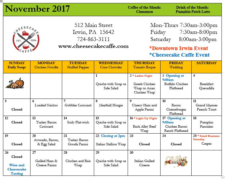 Nov 2017 food