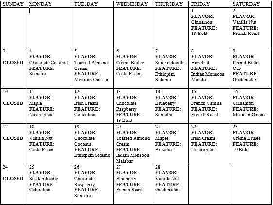 february coffee calendar
